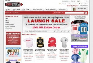 Screenshot of the new Jersey Express Magento site