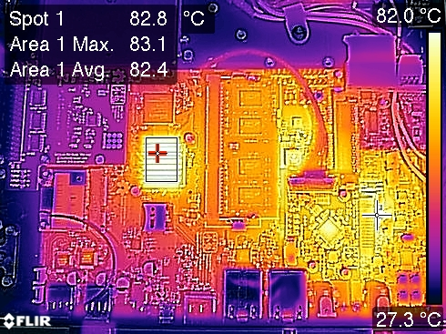 Novena PVT2-A Thermal Image with Data Overlay at 100% CPU